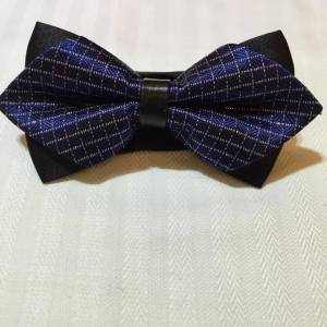 Dark Blue Bowtie with Square Dotted Patterns