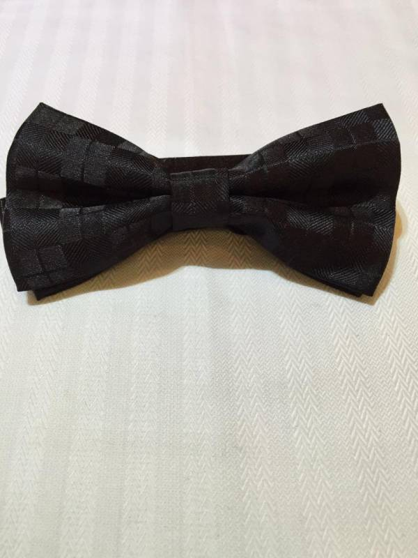 Black Bowtie with Black Dotted Patterns