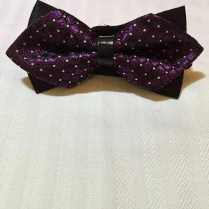 Dark Purple Bowtie with White Dotted Patterns