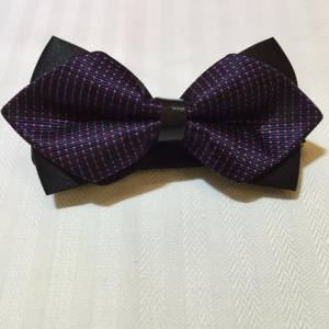 Purple Bowtie with Pink Dots